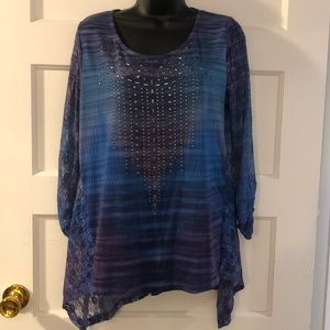 One World Live And Let Live Lace Blouse